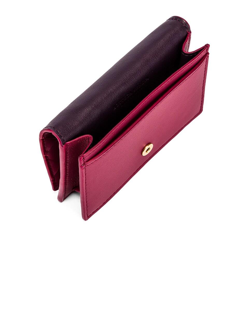 Image 4 of Bottega Veneta Woven Leather Card Case in Amaranto