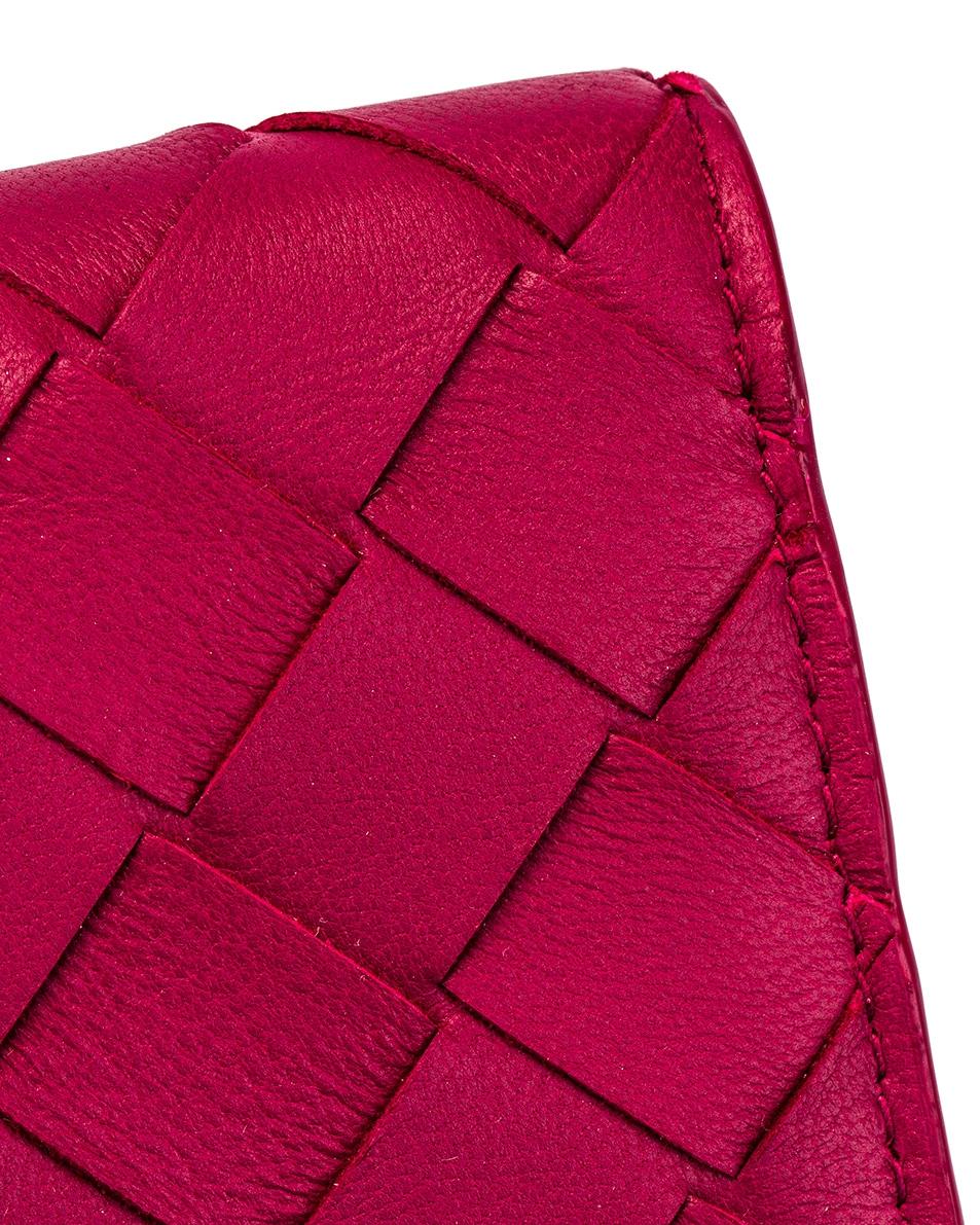 Image 6 of Bottega Veneta Woven Leather Card Case in Amaranto