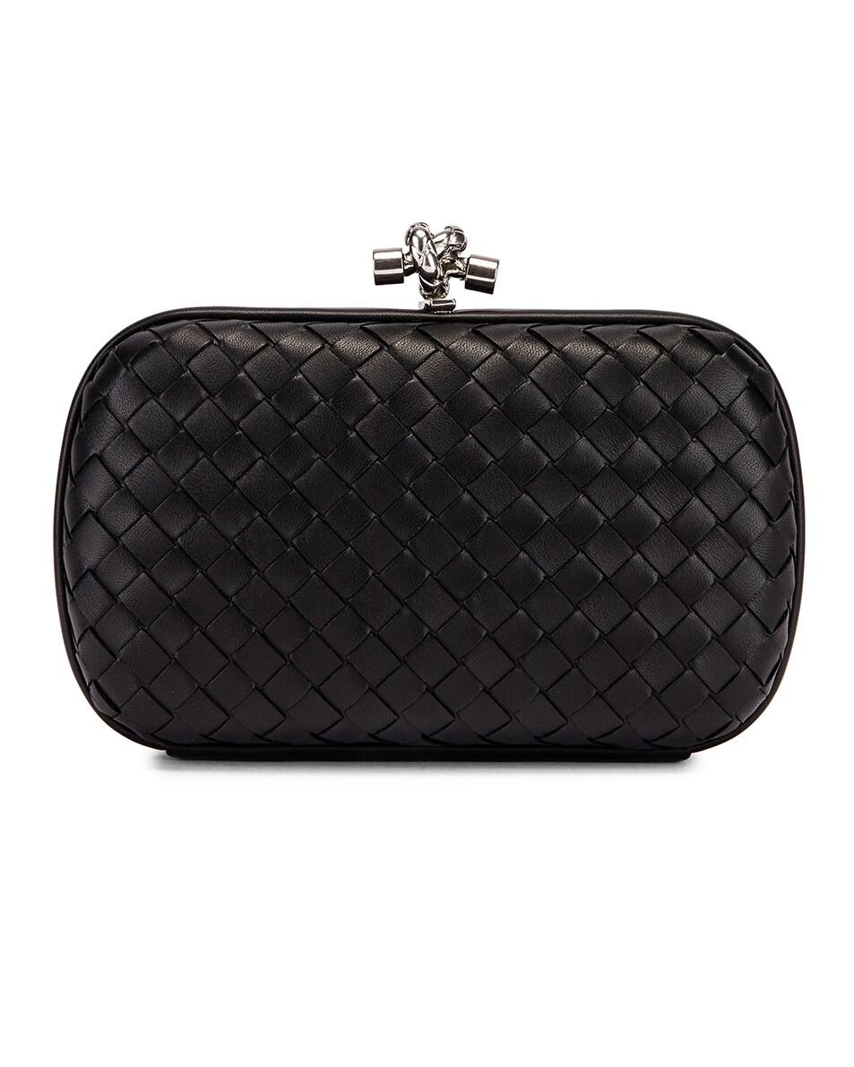 Image 1 of Bottega Veneta Woven Leather Crossbody Bag in Black & Silver