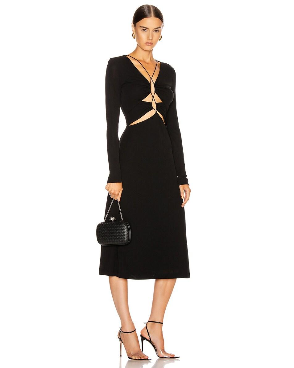 Image 2 of Bottega Veneta Woven Leather Crossbody Bag in Black & Silver