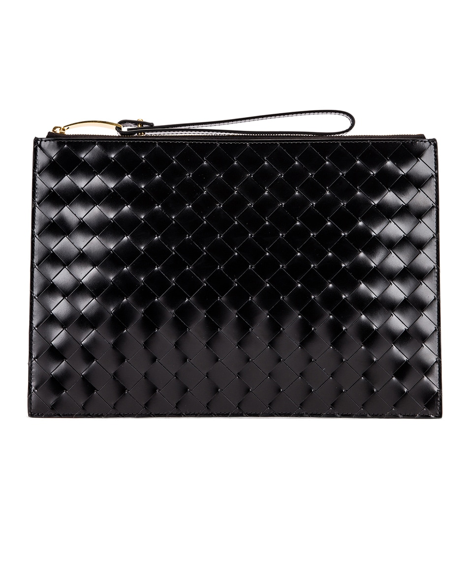 Image 1 of Bottega Veneta Woven Wristlet Bag in Black