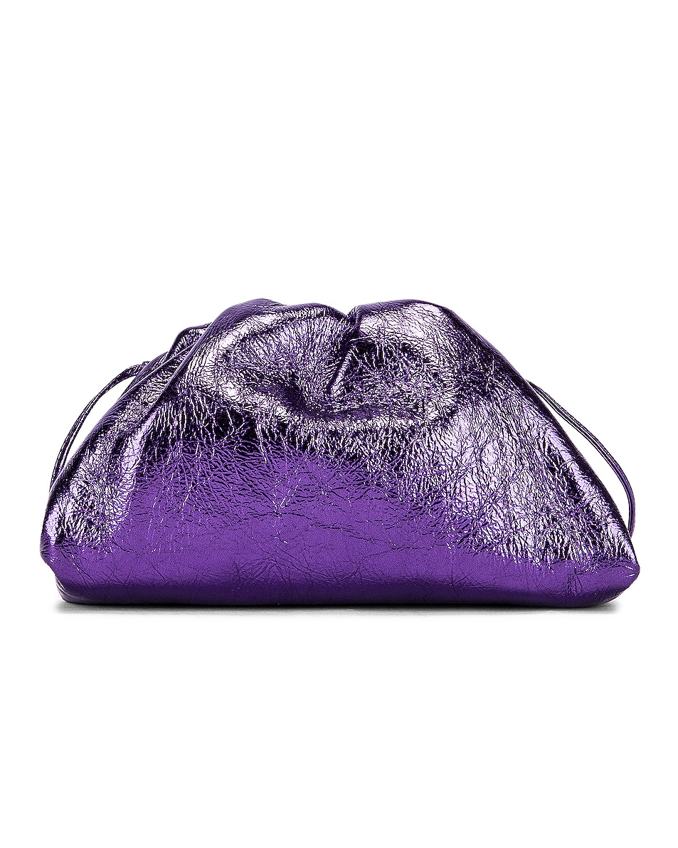 Image 3 of Bottega Veneta Wrinkled The Pouch 20 Clutch Bag in Viola & Silver