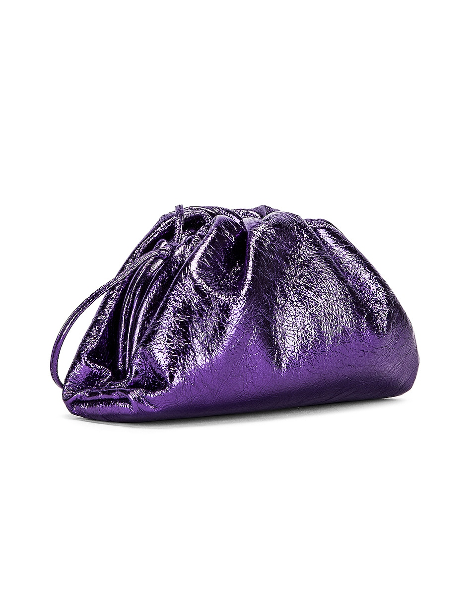 Image 4 of Bottega Veneta Wrinkled The Pouch 20 Clutch Bag in Viola & Silver