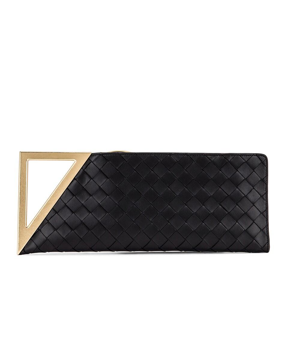 Image 1 of Bottega Veneta Pyramid Clutch in Black & Brass