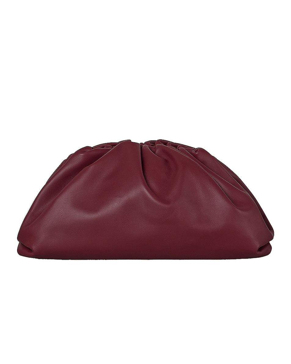 Image 1 of Bottega Veneta Leather Pouch Clutch in Bordeaux & Gold
