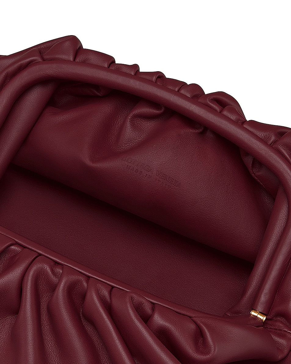 Image 3 of Bottega Veneta Leather Pouch Clutch in Bordeaux & Gold