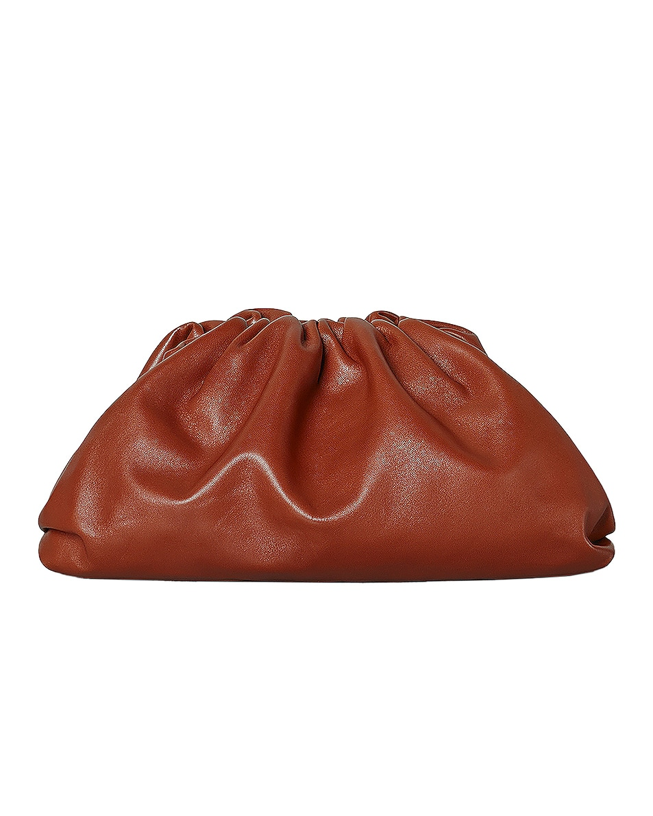 Image 1 of Bottega Veneta Leather Pouch Clutch in Rust & Gold