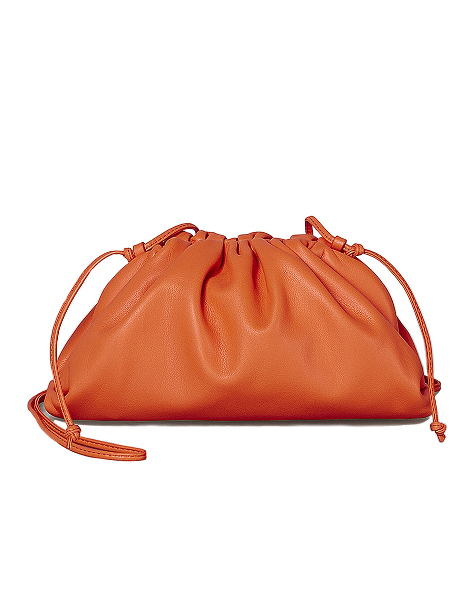 Image 1 of Bottega Veneta Mini Leather Pouch Clutch Crossbody Bag in Light Orange & Gold