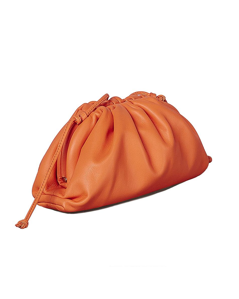 Image 2 of Bottega Veneta Mini Leather Pouch Clutch Crossbody Bag in Light Orange & Gold