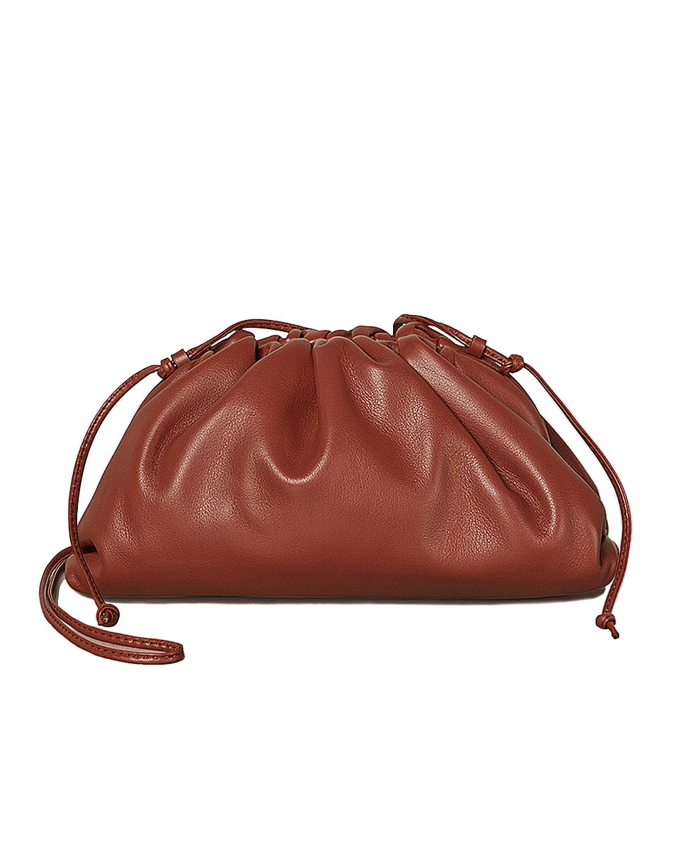 Image 1 of Bottega Veneta Mini Leather Pouch Clutch Crossbody Bag in Rust & Gold