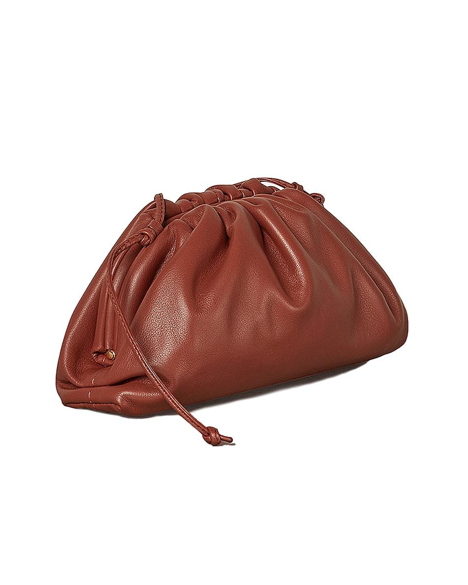 Image 2 of Bottega Veneta Mini Leather Pouch Clutch Crossbody Bag in Rust & Gold