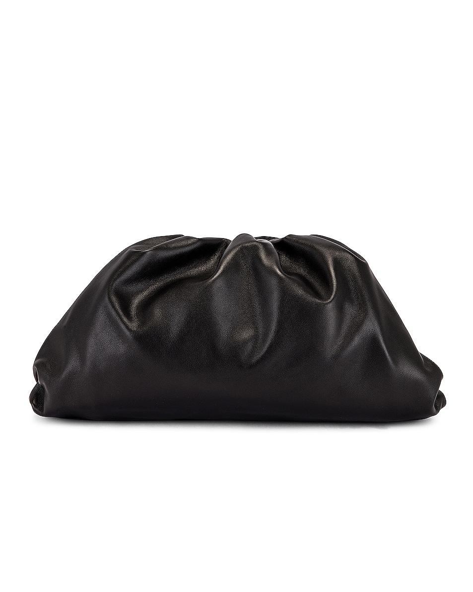 Image 1 of Bottega Veneta Leather Pouch Clutch in Black & Silver