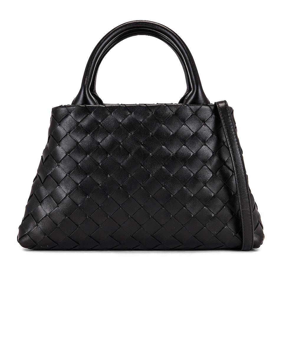 Image 1 of Bottega Veneta Leather Woven Crossbody Bag in Black & Silver