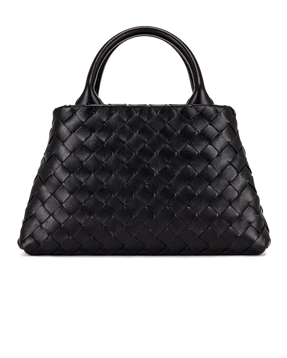 Image 3 of Bottega Veneta Leather Woven Crossbody Bag in Black & Silver