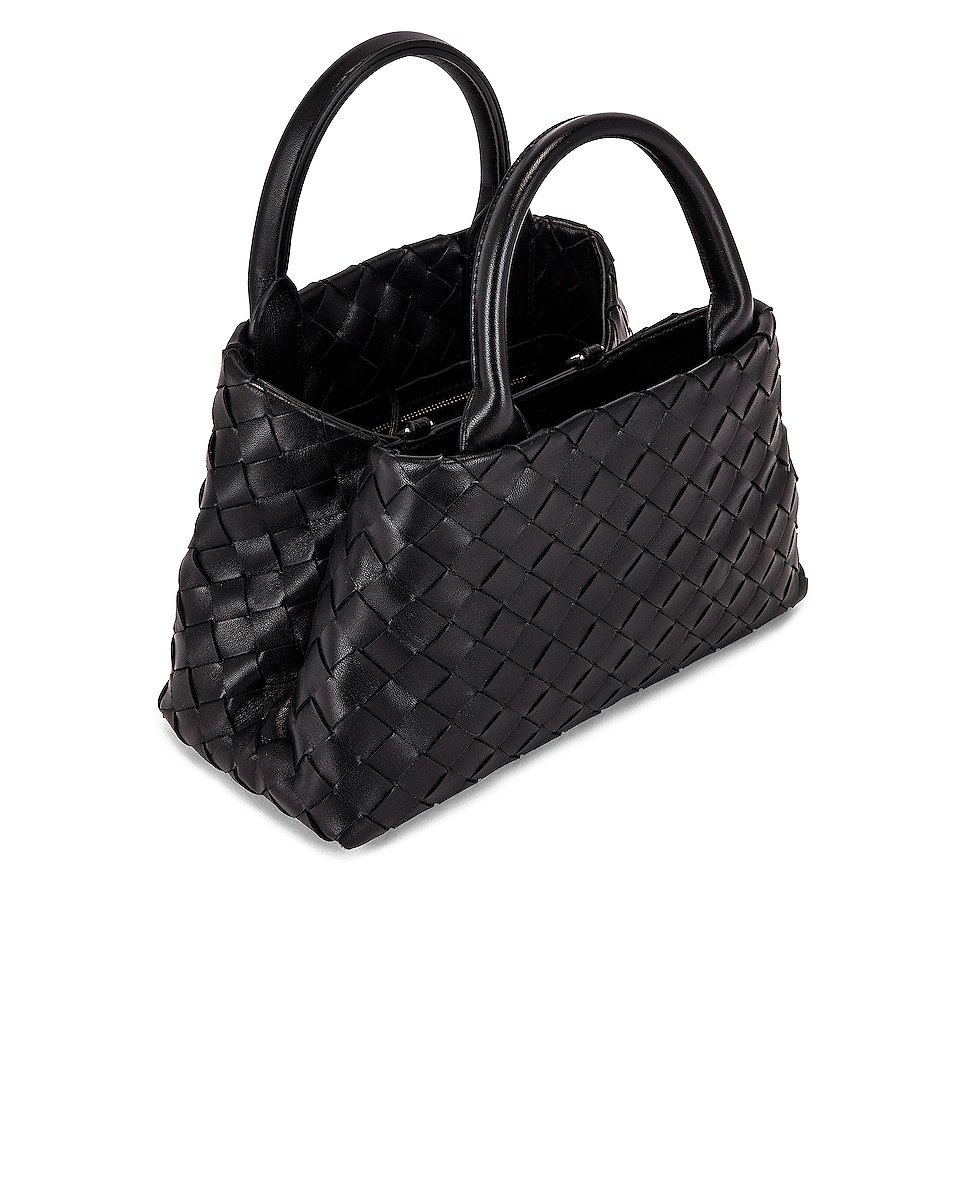 Image 5 of Bottega Veneta Leather Woven Crossbody Bag in Black & Silver