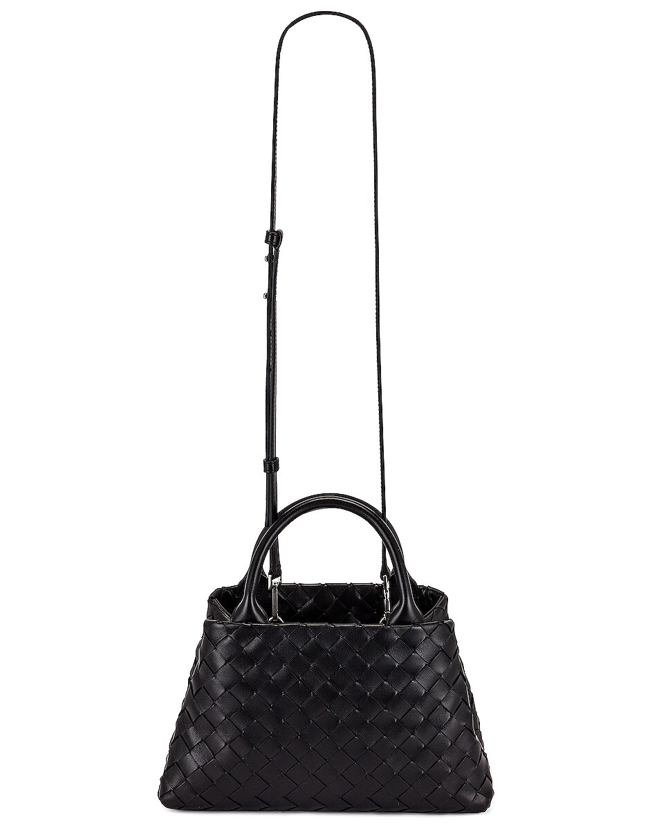 Image 6 of Bottega Veneta Leather Woven Crossbody Bag in Black & Silver