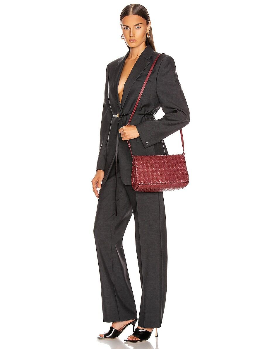 Image 2 of Bottega Veneta Leather Woven Crossbody Bag in Bordeaux & Gold