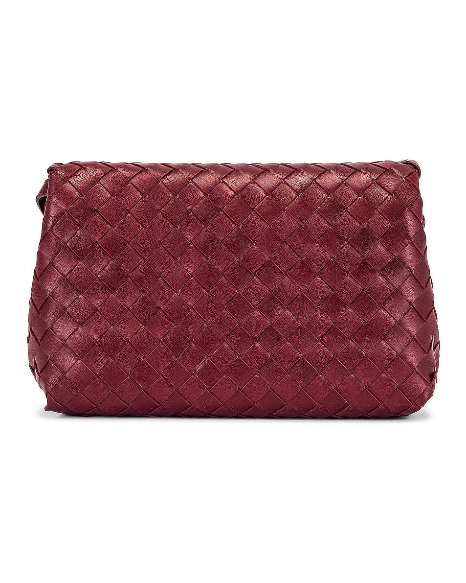 Image 3 of Bottega Veneta Leather Woven Crossbody Bag in Bordeaux & Gold