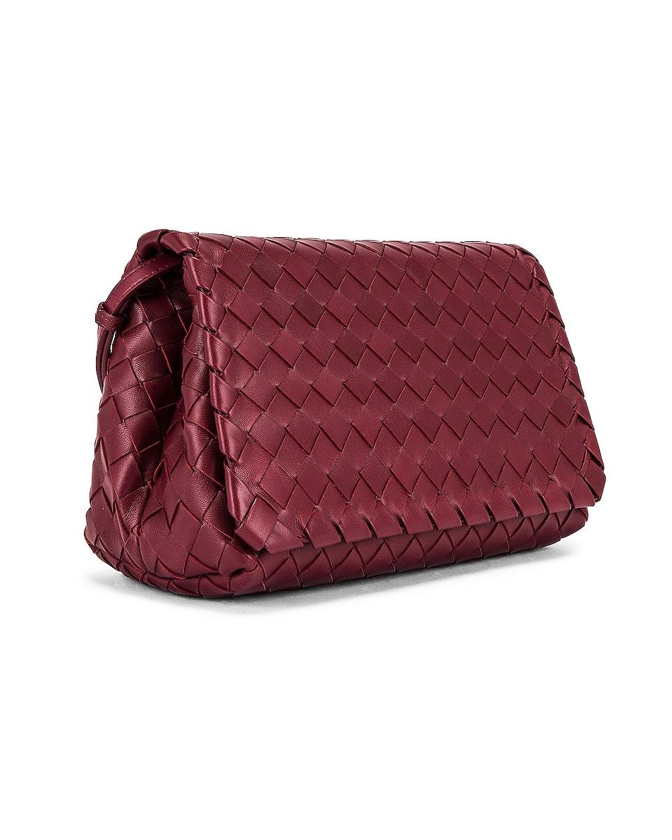 Image 4 of Bottega Veneta Leather Woven Crossbody Bag in Bordeaux & Gold