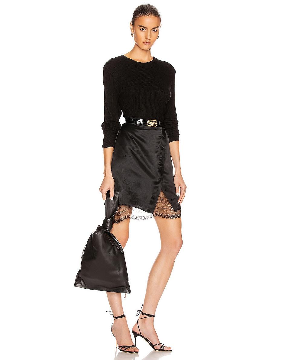 Image 2 of Bottega Veneta Leaher Knot Bag in Black & Silver