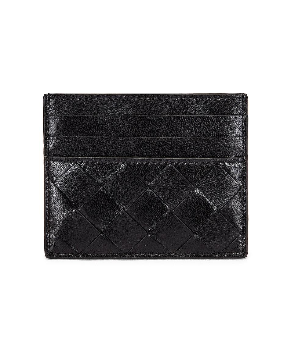 Image 1 of Bottega Veneta Leather Woven Card Case in Black & Silver