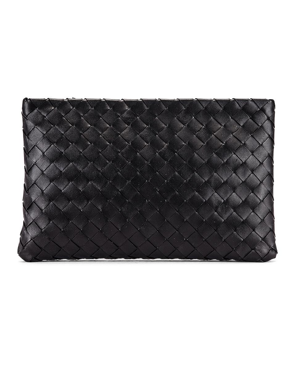 Bottega Veneta Leather Woven Pouch In Black & Silver
