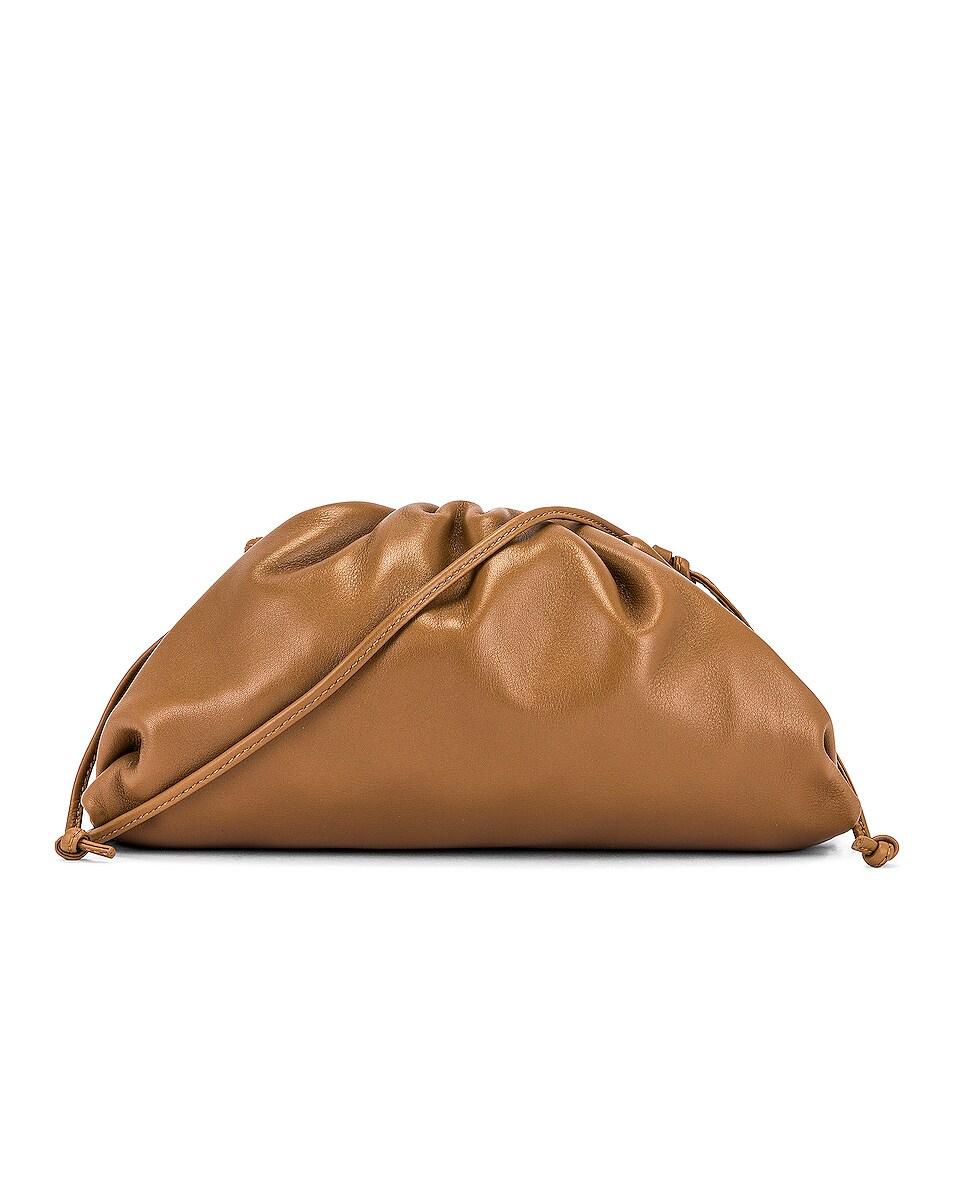 Image 1 of Bottega Veneta Mini Leather Pouch Clutch Crossbody Bag in Cammello & Gold