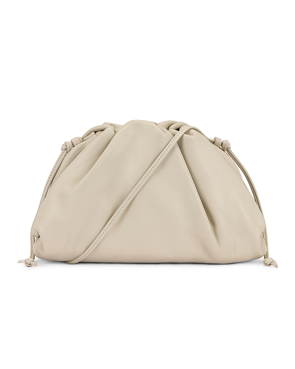 Image 1 of Bottega Veneta Mini Leather Pouch Clutch Crossbody Bag in Plaster & Gold