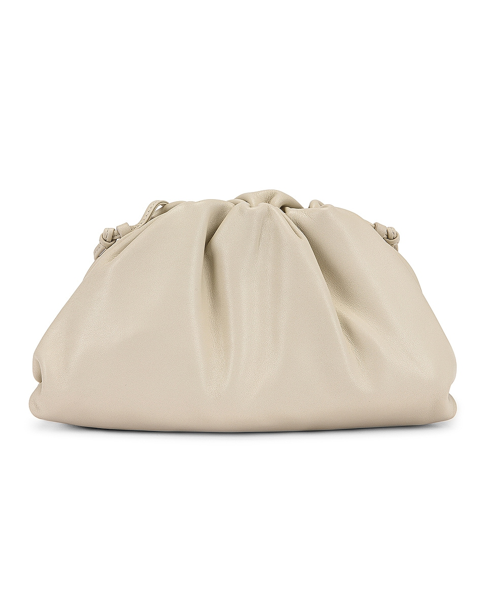 Image 3 of Bottega Veneta Mini Leather Pouch Clutch Crossbody Bag in Plaster & Gold