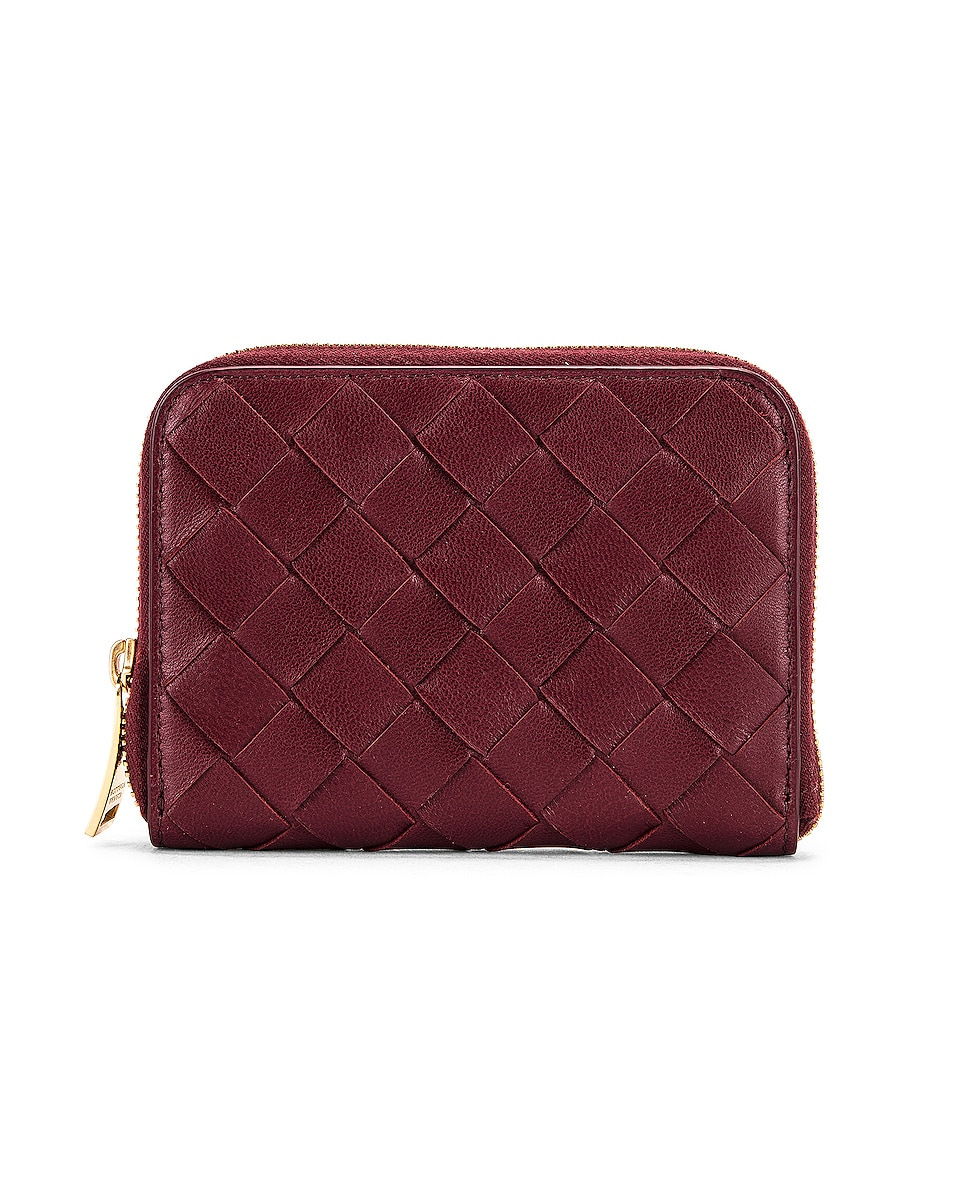 Image 1 of Bottega Veneta Leather Woven ZIp Around Wallet in Bordeaux & Gold