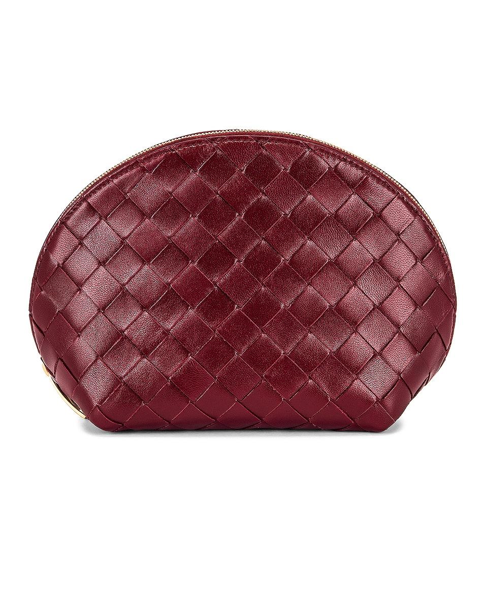 Image 1 of Bottega Veneta Leather Woven Cosmetic Case in Bordeaux & Gold