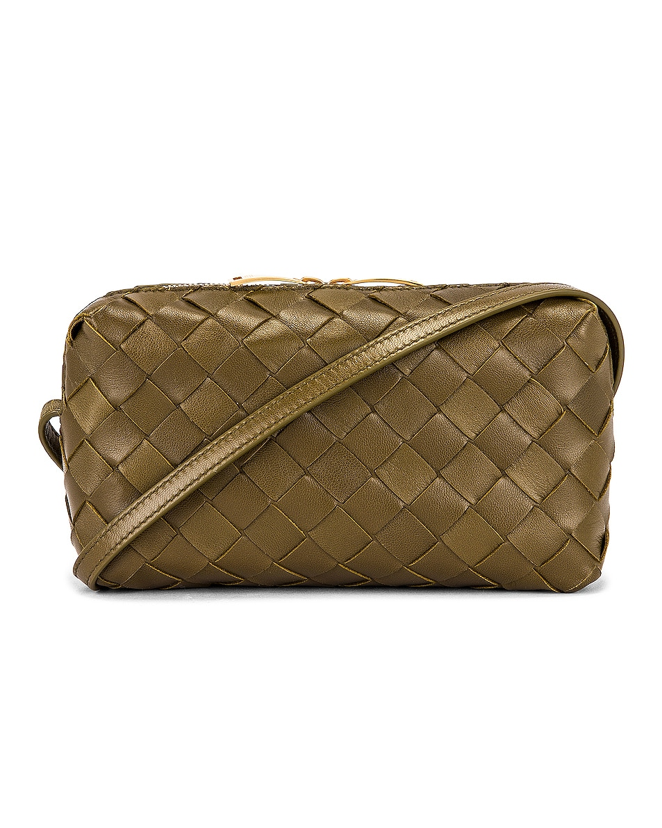 Bottega Veneta Leather Woven Crossbody Bag In Mud & Gold