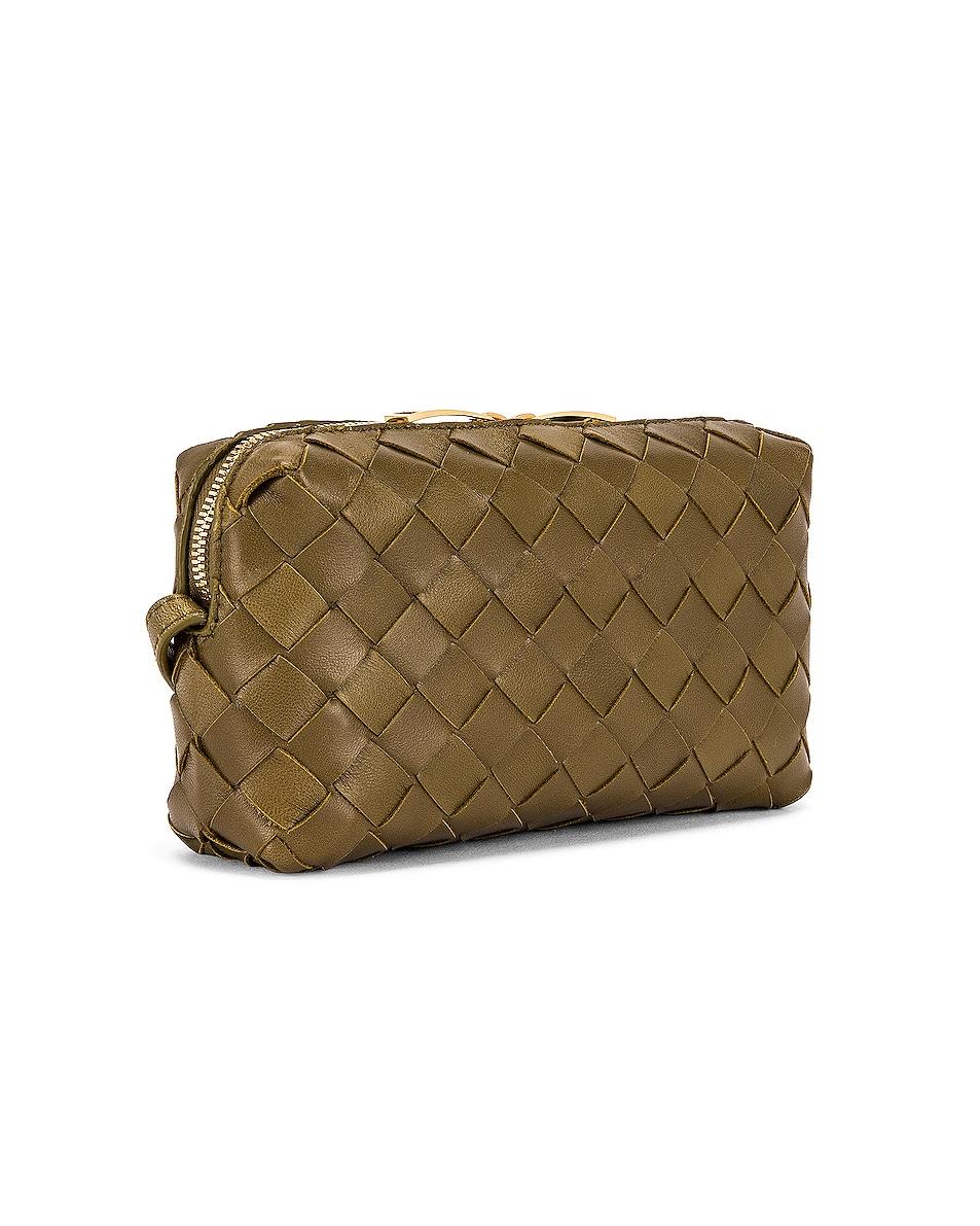 Image 4 of Bottega Veneta Leather Woven Crossbody Bag in Mud & Gold