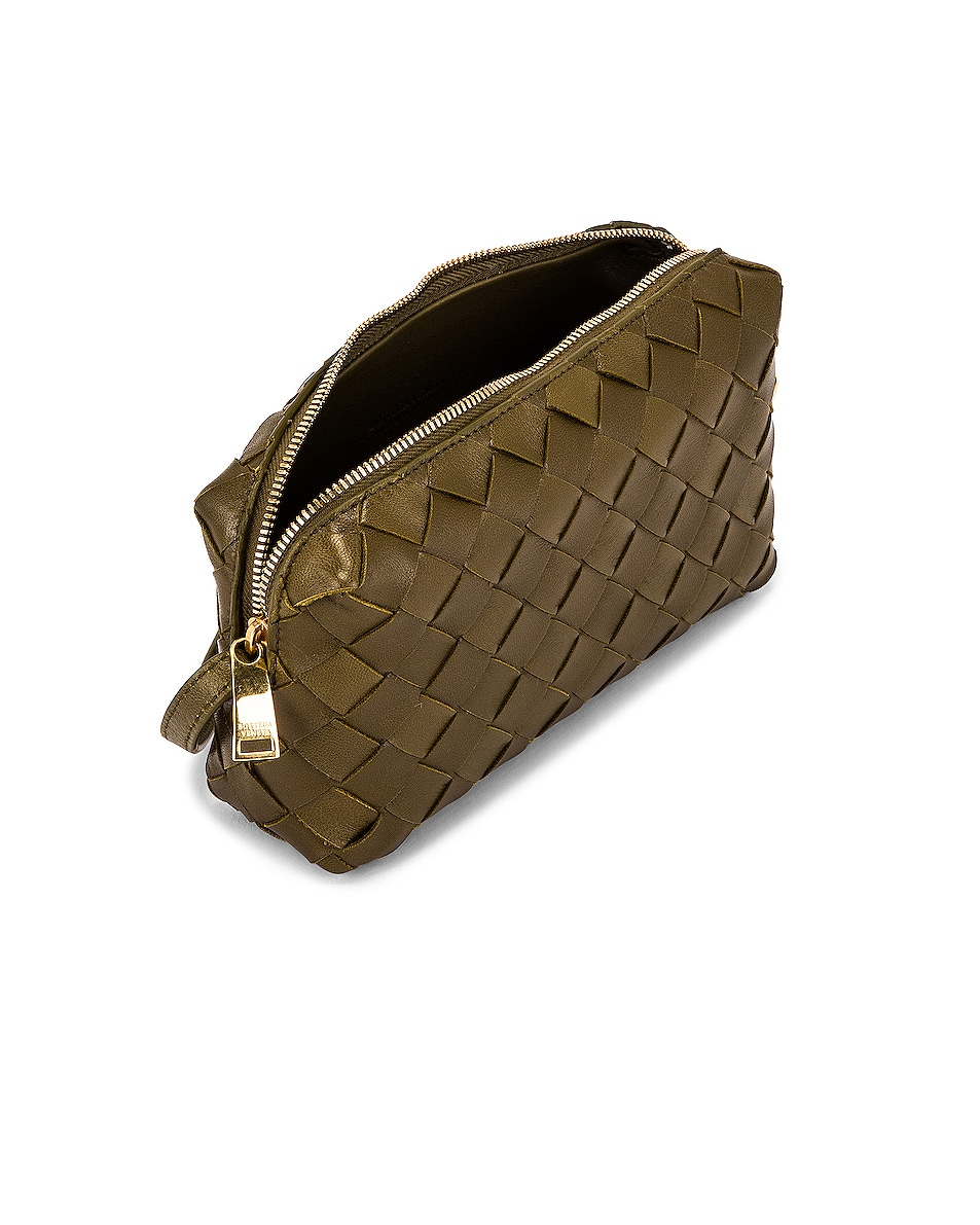 Image 5 of Bottega Veneta Leather Woven Crossbody Bag in Mud & Gold