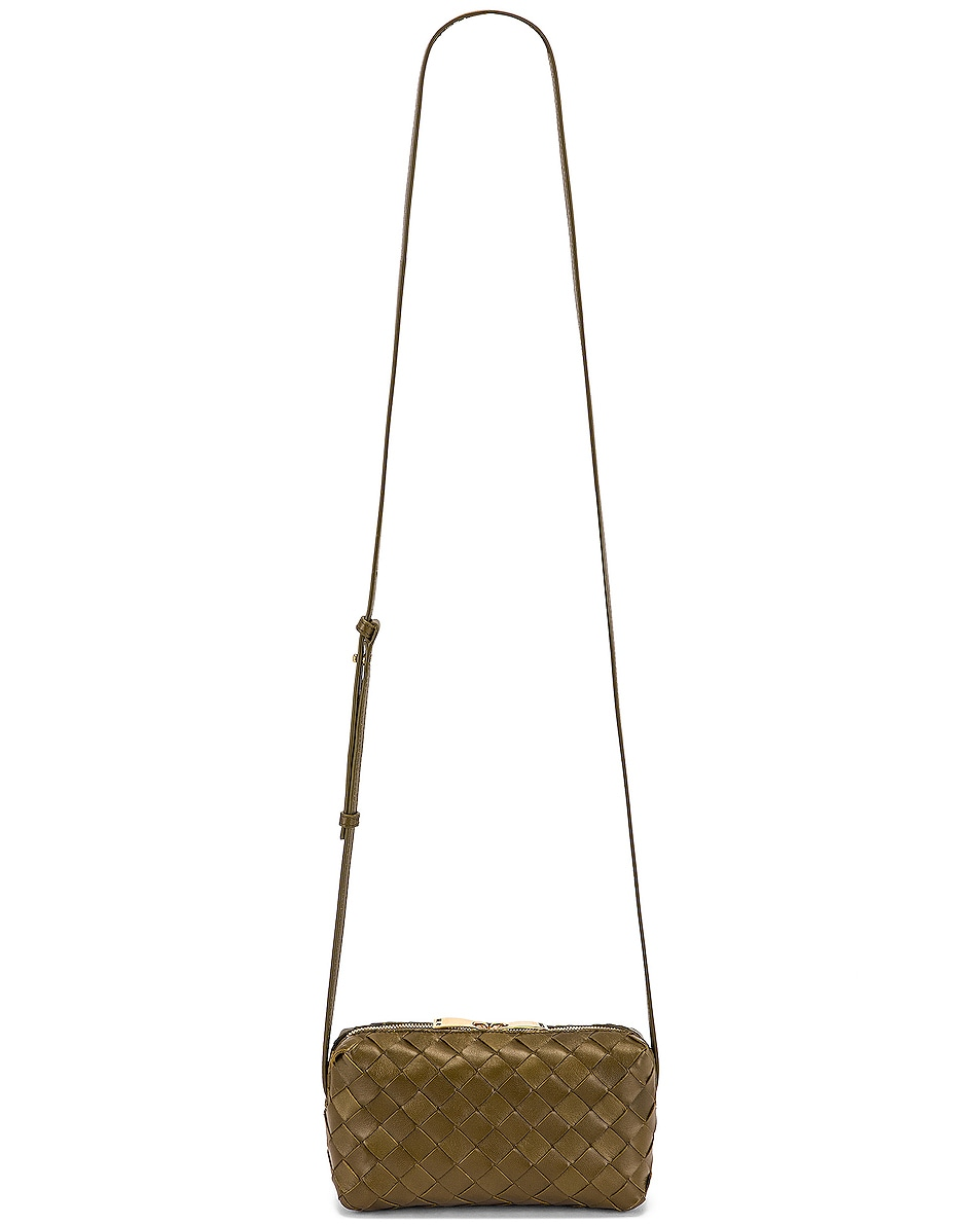Image 6 of Bottega Veneta Leather Woven Crossbody Bag in Mud & Gold