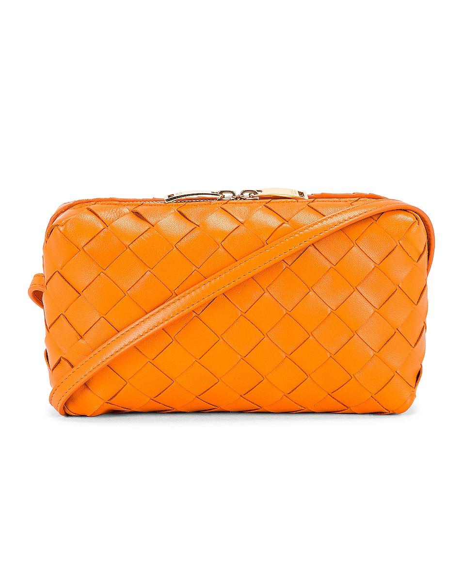 Image 1 of Bottega Veneta Leather Woven Crossbody Bag in Light Orange & Gold