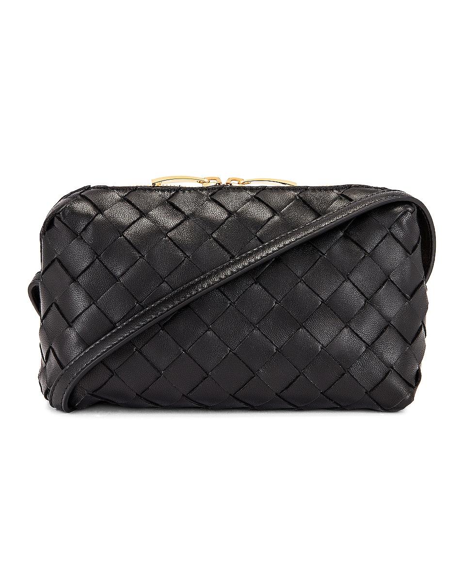 Image 1 of Bottega Veneta Leather Woven Crossbody Bag in Black & Gold