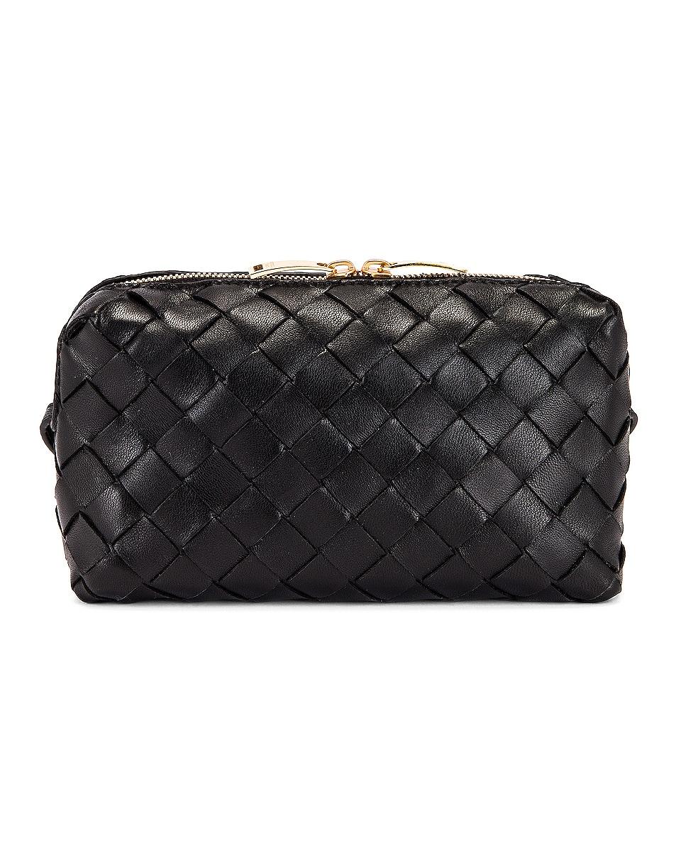 Image 3 of Bottega Veneta Leather Woven Crossbody Bag in Black & Gold