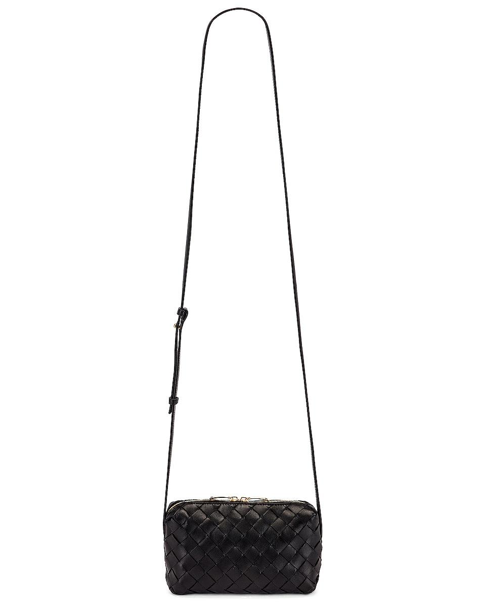 Image 6 of Bottega Veneta Leather Woven Crossbody Bag in Black & Gold