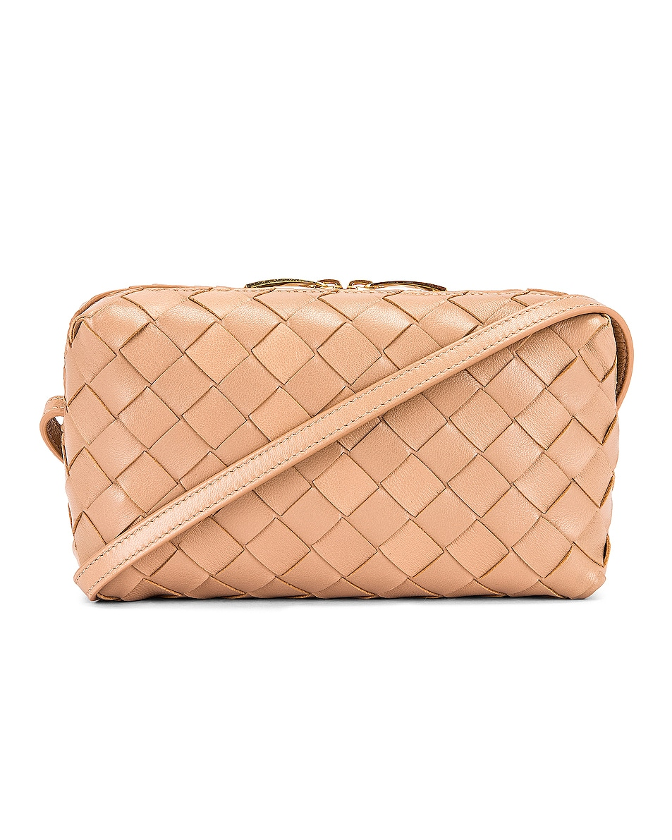 Image 1 of Bottega Veneta Leather Woven Crossbody Bag in Cipria & Gold