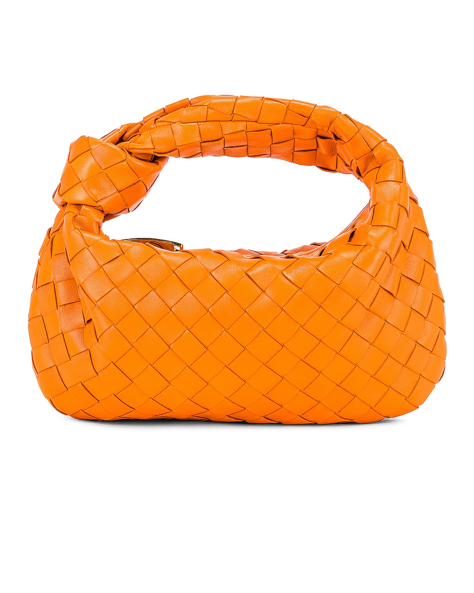 Image 1 of Bottega Veneta Leather Woven Shoulder Bag in Light Orange & Gold