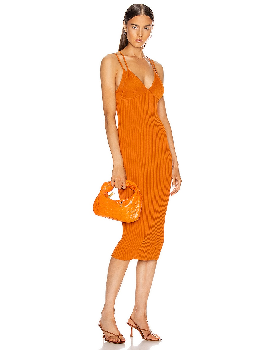 Image 2 of Bottega Veneta Leather Woven Shoulder Bag in Light Orange & Gold