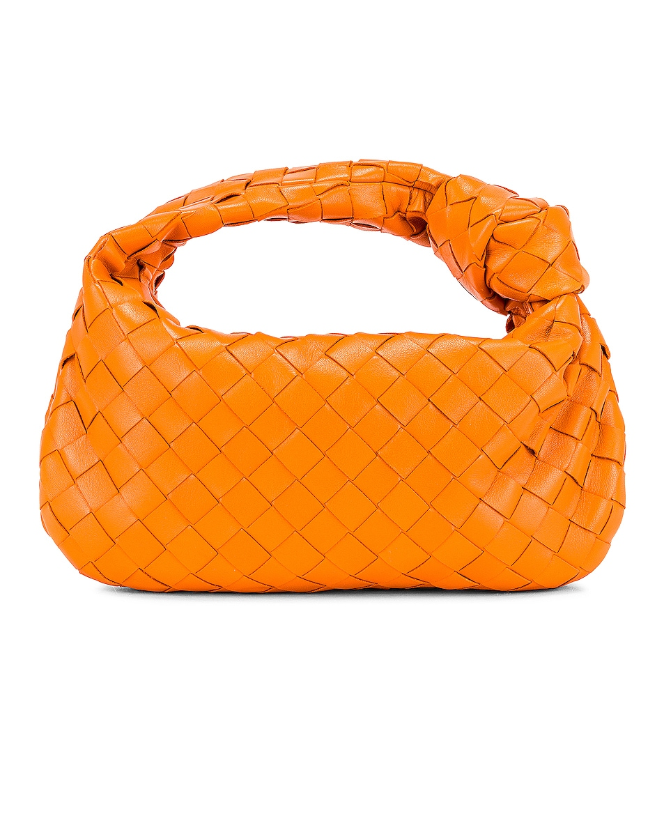 Image 3 of Bottega Veneta Leather Woven Shoulder Bag in Light Orange & Gold