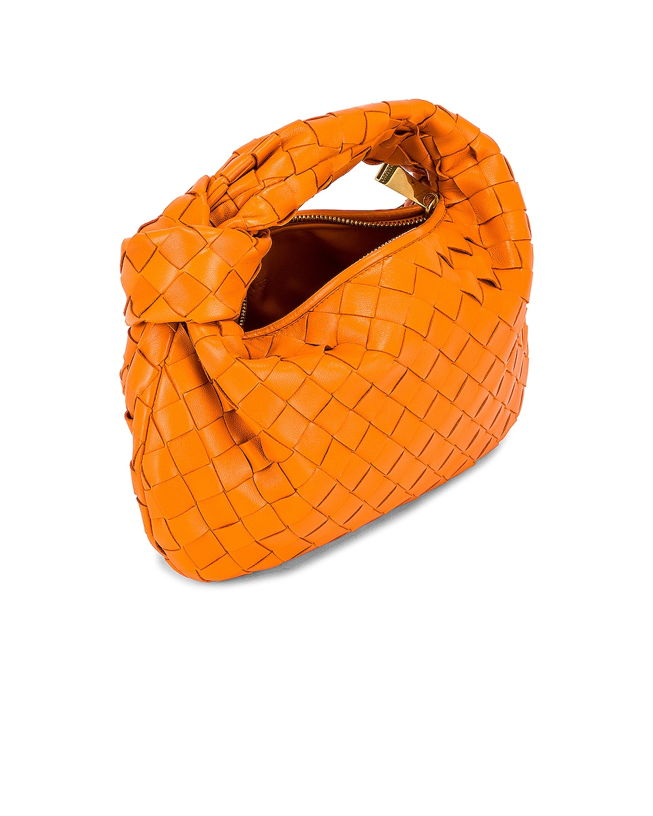Image 5 of Bottega Veneta Leather Woven Shoulder Bag in Light Orange & Gold