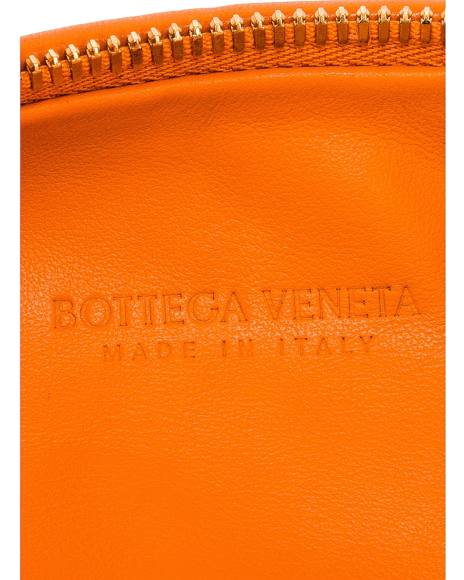 Image 6 of Bottega Veneta Leather Woven Shoulder Bag in Light Orange & Gold