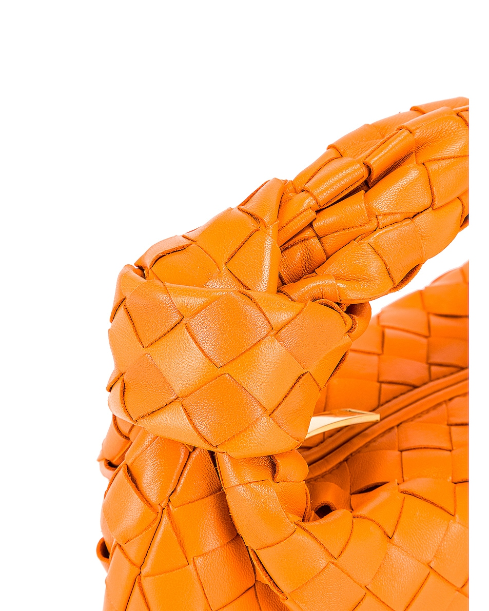 Image 7 of Bottega Veneta Leather Woven Shoulder Bag in Light Orange & Gold