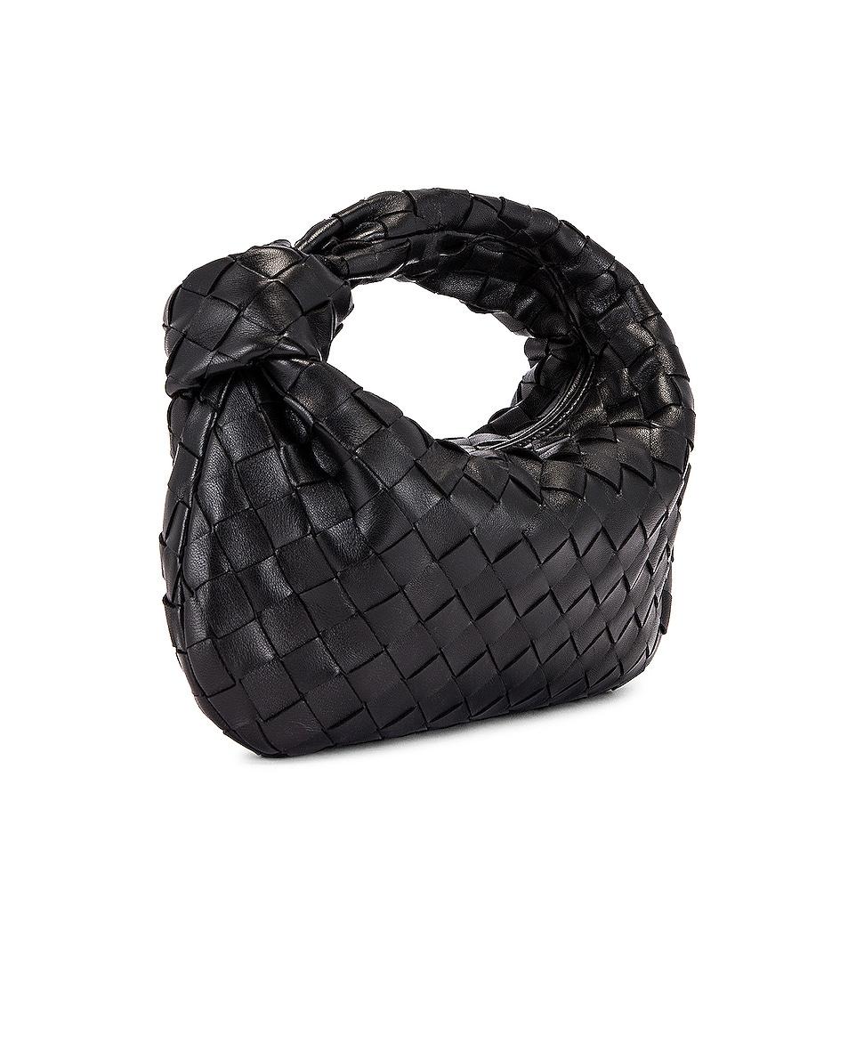 Image 4 of Bottega Veneta Leather Woven Shoulder Bag in Black & Gold