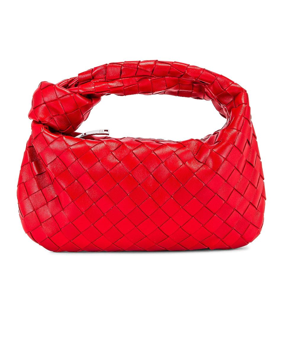 Image 1 of Bottega Veneta Leather Woven Shoulder Bag in Bright Red