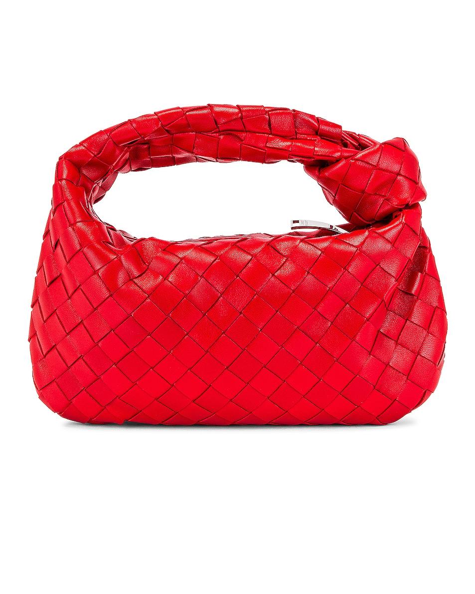 Image 3 of Bottega Veneta Leather Woven Shoulder Bag in Bright Red