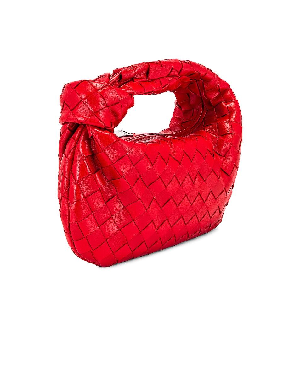 Image 4 of Bottega Veneta Leather Woven Shoulder Bag in Bright Red